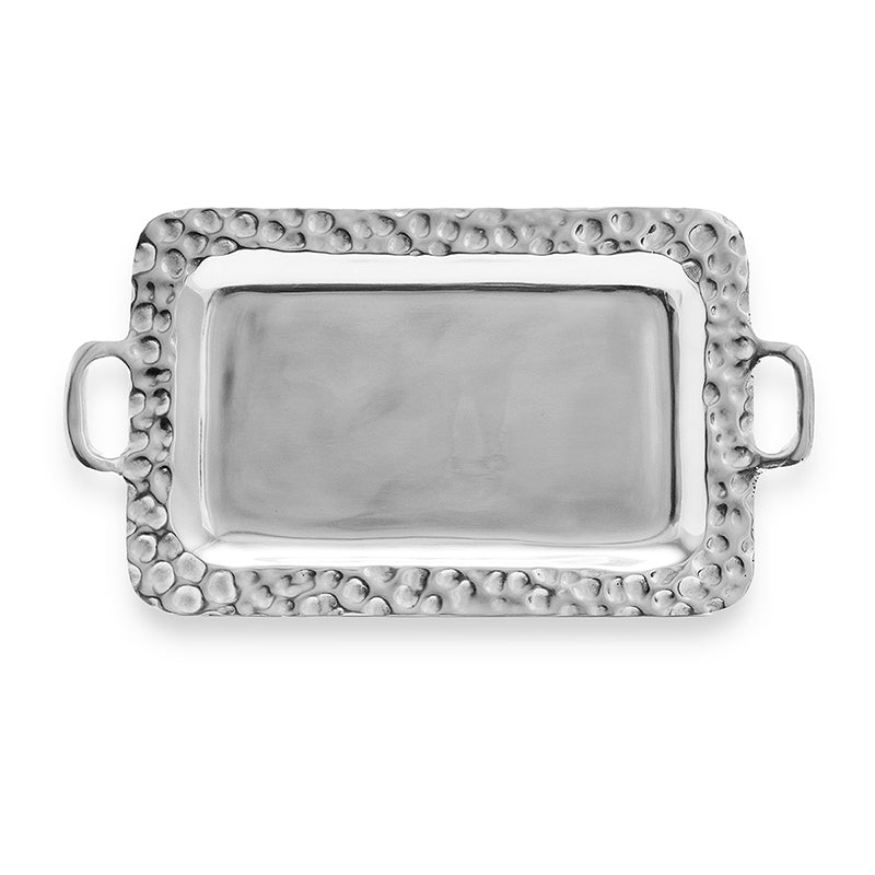 SM RECTANGLE HAMMERED EDGE TRAY W/ HANDLES - Lily Fields Home