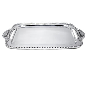 SM BEADED TRAY W/ ORNATE HANDLES - Lily Fields Home