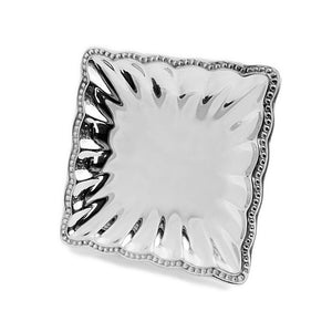 SQUARE FLUTED BEADED EDGE TRAY - Lily Fields Home