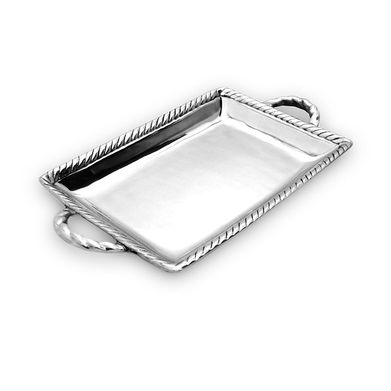 DEEP ROPE EDGE TRAY W/ HANDLES - Lily Fields Home