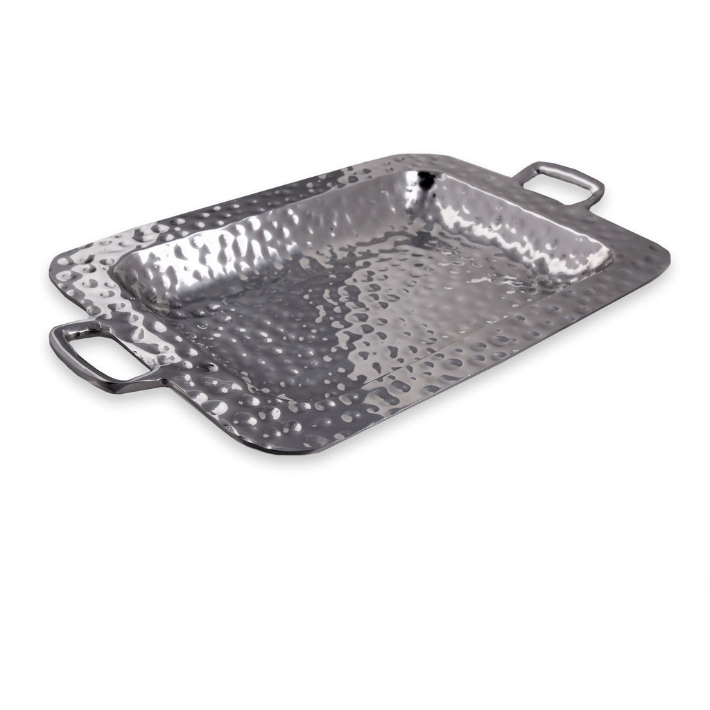 RECTANGLE DEEP HAMMERED TRAY W/ HANDLES - Lily Fields Home