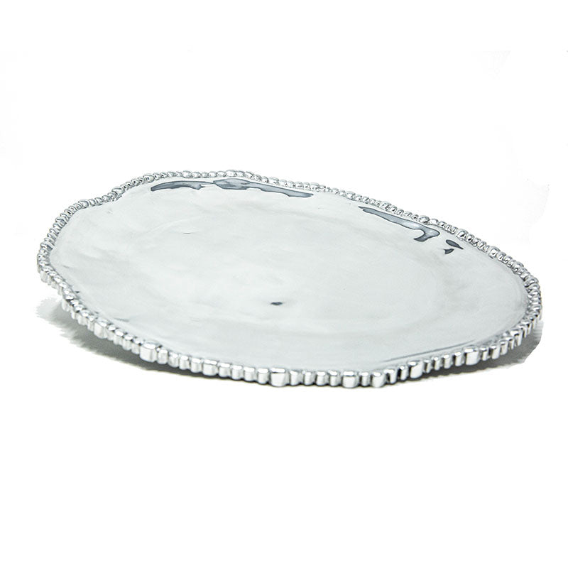 LG OVAL SOFT HAMMERED BEADED EDGE PLATE - Lily Fields Home
