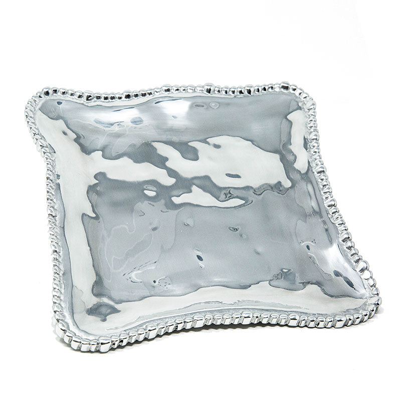 LG SQUARE SOFT HAMMERED BEADED EDGE TRAY - Lily Fields Home