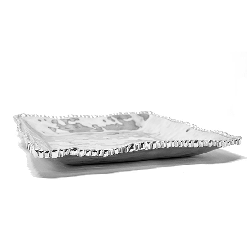 LG SQUARE SOFT HAMMERED BEADED EDGE DEEP TRAY - Lily Fields Home