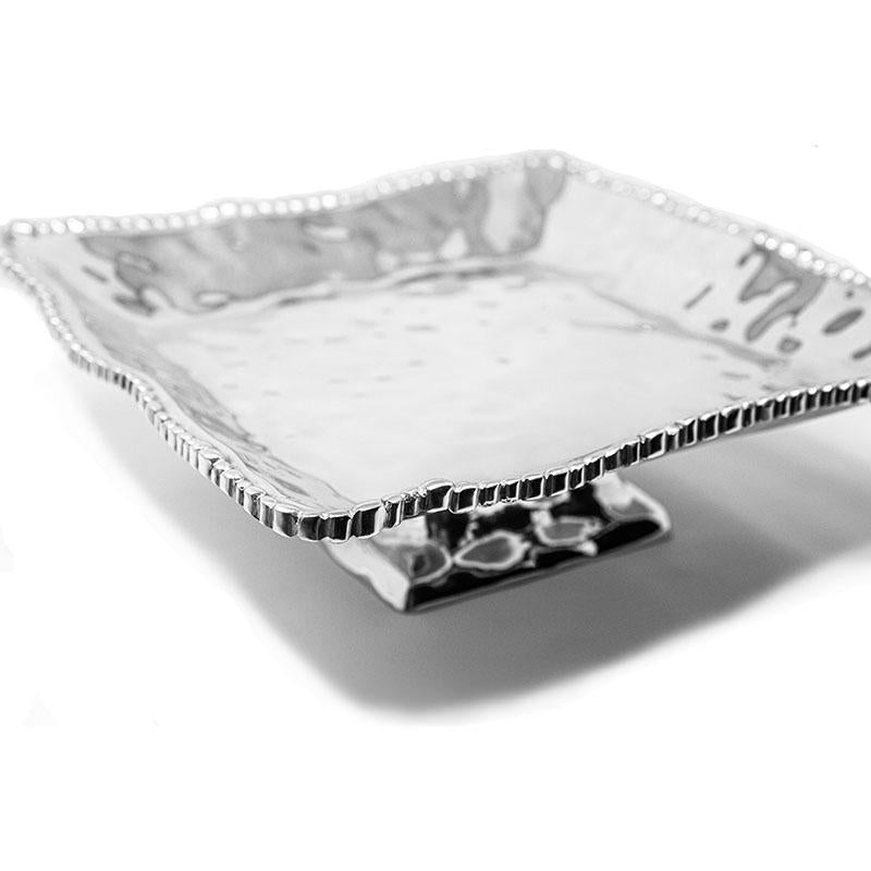 LG SOFT HAMMERED BEADED EDGE TRAY W/ BASE - Lily Fields Home