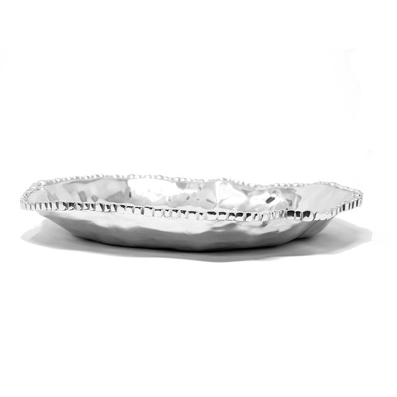 LG OVAL SOFT HAMMERED BEADED EDGE TRAY - Lily Fields Home