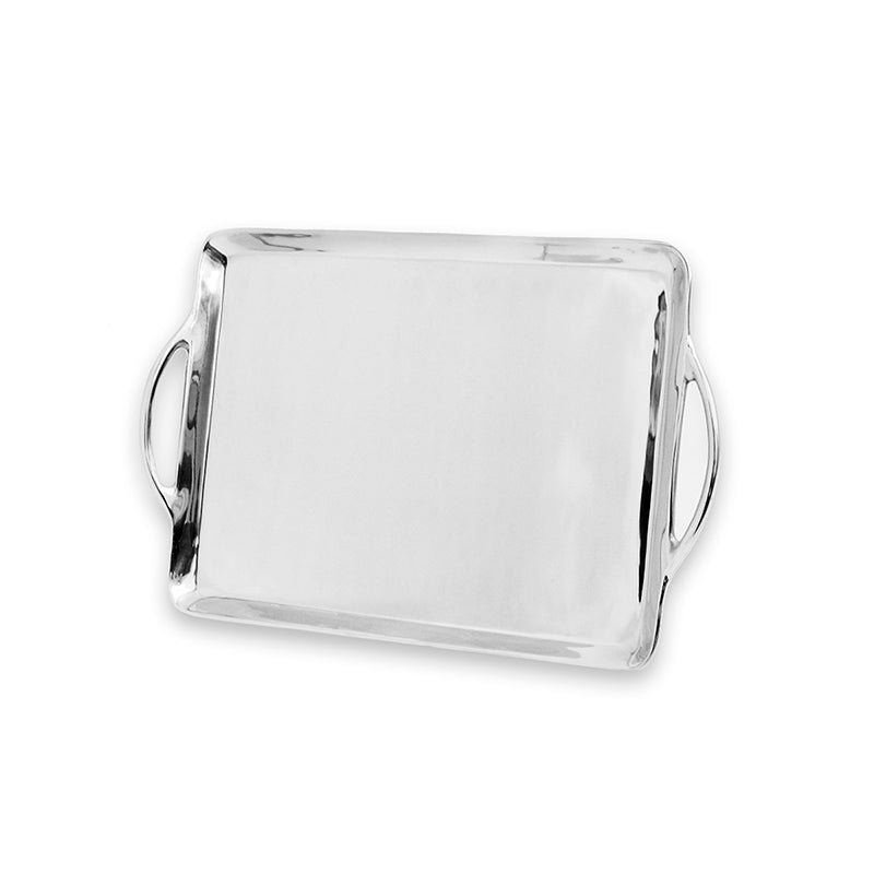 LG RECTANGLE SMOOTH TRAY W/ HANDLES - Lily Fields Home