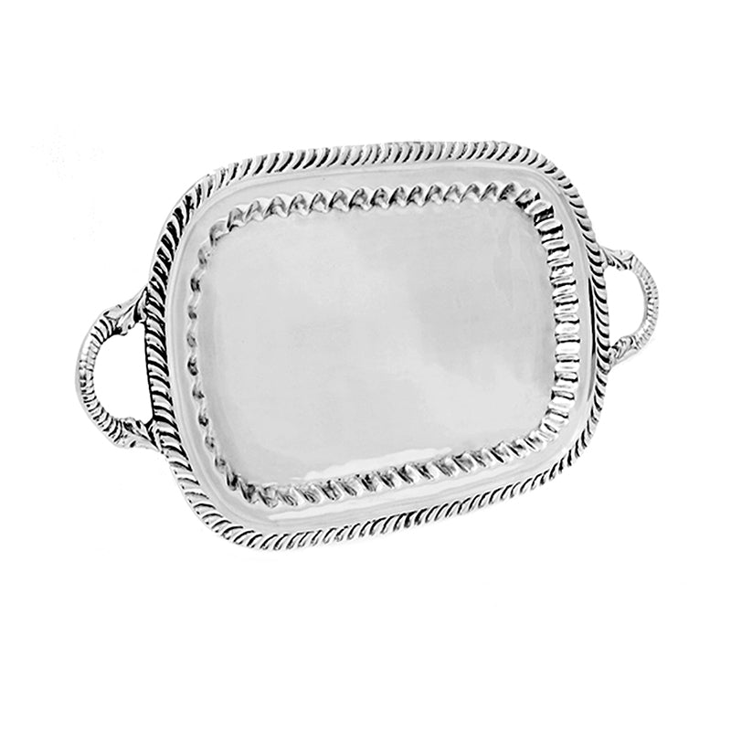 SM DECORATIVE EDGE TRAY W/ HANDLES - Lily Fields Home