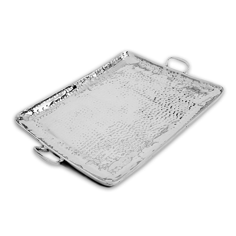 LG HAMMERED TRAY W/ HANDLES - Lily Fields Home