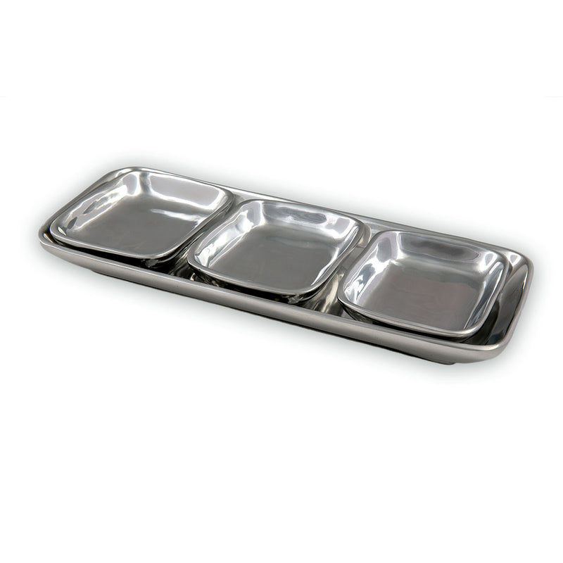 SERVING TRAY W/ RECTANGLE CONDIMENT BOWLS - Lily Fields Home