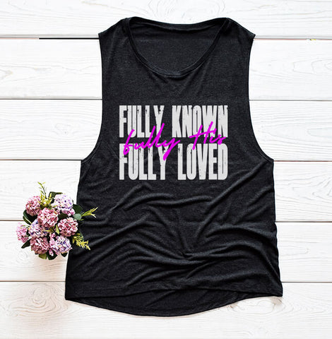 Fully Known Women's Muscle Tank- White Graphic