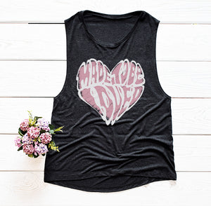 Made to Be Loved Women's Muscle Tank- White Graphic