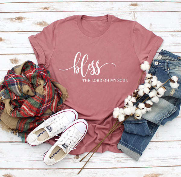 Bless the Lord Oh My Soul Tee - White Graphic