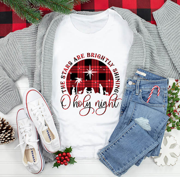O Holy Night Plaid Classic Fit Tee