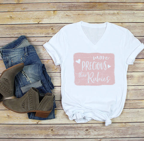 More Precious Than Rubies V-neck Tee
