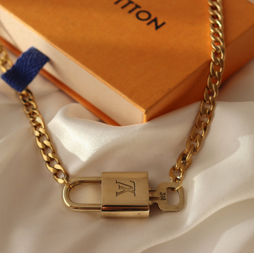 Rework Louis Vuitton Lock Necklace With Key Gold