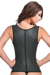 9 STEEL BONED BLACK LATEX WAIST TRAINER VEST WITH STRAPS