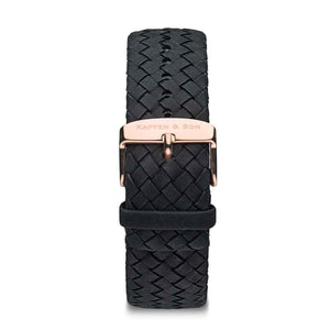 Black Woven Leather Strap 20 MM Rose Gold | Kapten & Son STRAPS