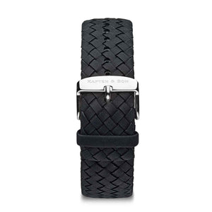 Black Woven Leather Strap 18 MM Silver | Kapten & Son STRAPS