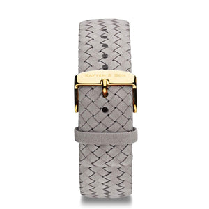 Grey Woven Leather Strap 18 MM Gold | Kapten & Son STRAPS