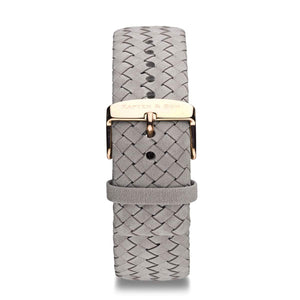 Grey Woven Leather Strap 18 MM Rose Gold | Kapten & Son STRAPS