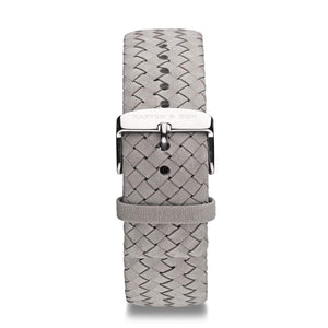 Grey Woven Leather Strap 18 MM Silver | Kapten & Son STRAPS