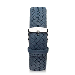 Light Blue Woven Leather Strap 18 MM Silver | Kapten & Son STRAPS