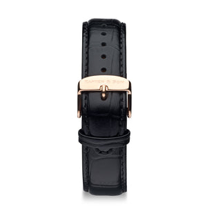 Black Croco Leather Strap 20 MM Rose Gold