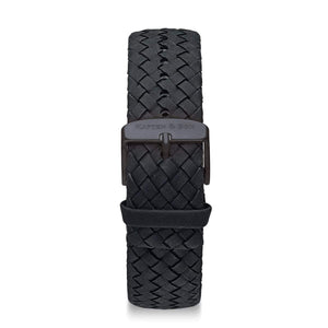 Black Woven Leather Strap 18 MM Matte Black | Kapten & Son STRAPS