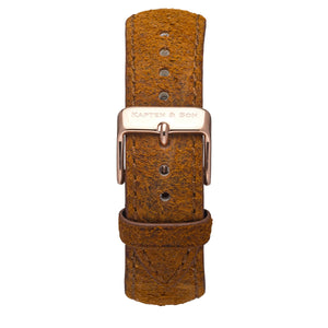 Brown Vintage Leather Strap 18 MM Rose Gold