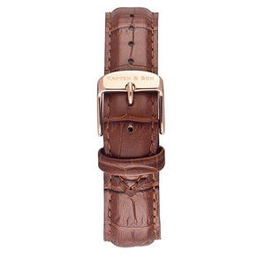 Brown Croco Leather Strap 18 MM Rose Gold