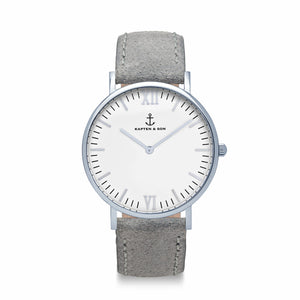Campus Silver Grey Vintage Leather | Kapten & Son WATCHES