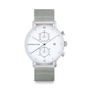 Chrono Silver Mesh | Kapten & Son WATCHES