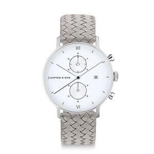 Chrono Silver Grey Woven Leather | Kapten & Son WATCHES