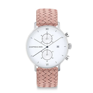 Chrono Silver Rose Woven Leather | Kapten & Son WATCHES