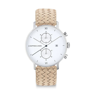 Chrono Silver Sand Woven Leather | Kapten & Son WATCHES