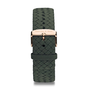 Pine Green Woven Leather Strap 20 MM Rose Gold | Kapten & Son STRAPS
