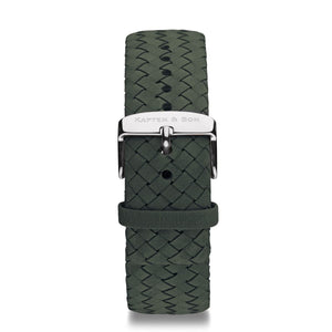 Pine Green Woven Leather Strap 20 MM Silver | Kapten & Son STRAPS