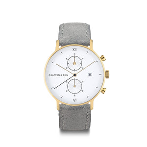"Chrono Small Gold ""Grey Vintage Leather"""