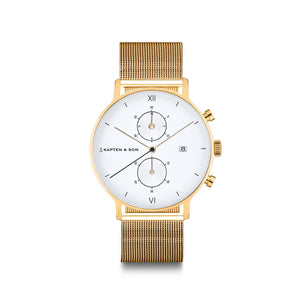 Chrono Small Gold Mesh | Kapten & Son WATCHES