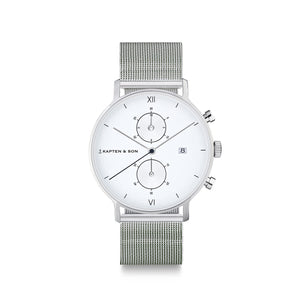 Chrono Small Silver Mesh | Kapten & Son WATCHES
