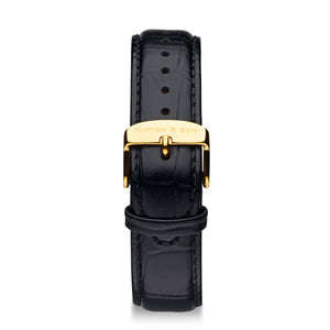 Black Croco Leather Strap 20 MM Gold