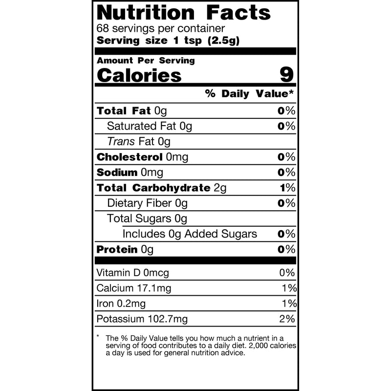 Tamam Life Co. Moody Blue Out Latte Nutrition Label