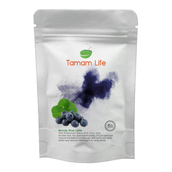 Tamam Life Co. Moody Blue Out Latte Front Label