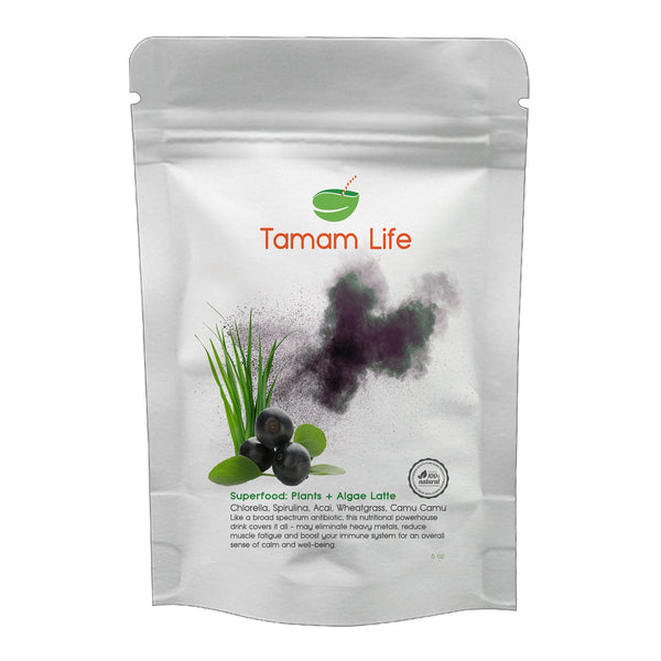 Tamam Life Co. Superfood: Plants + Algae Latte Label Front