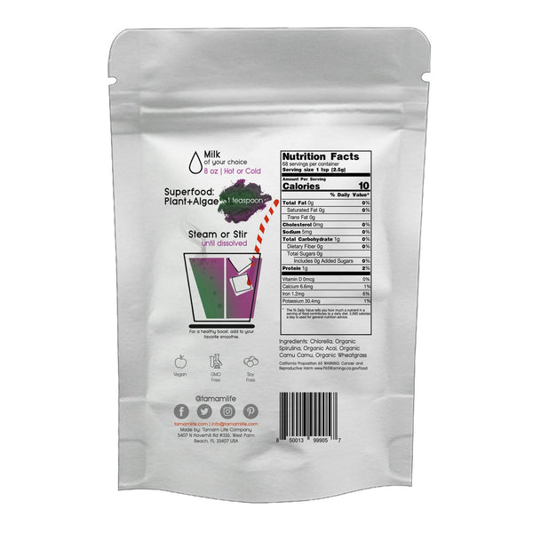 Tamam Life Co. Superfood: Plants + Algae Latte Label Back