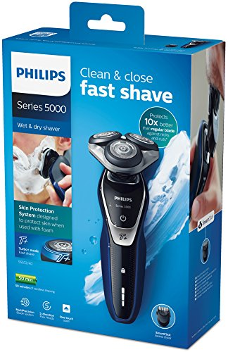 Philips Series 5000 Wet and Dry Men's Electric Shaver with Turbo Plus Mode and Beard Trimmer