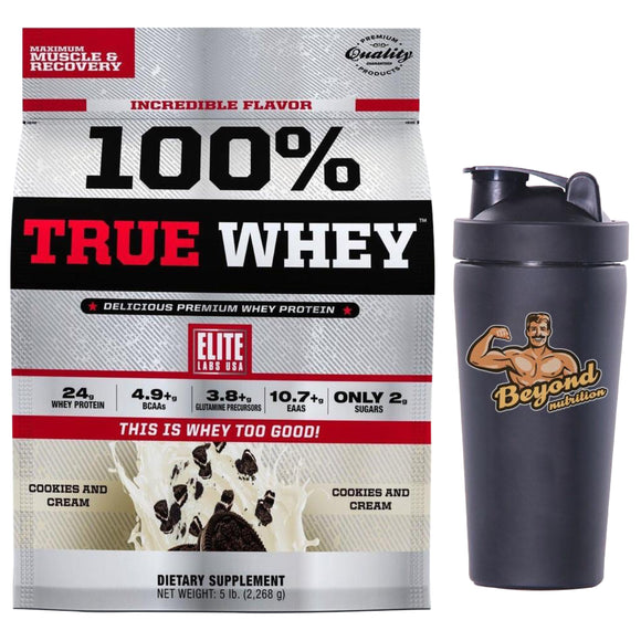 elite labs true whey 5lbs (free steel shaker)
