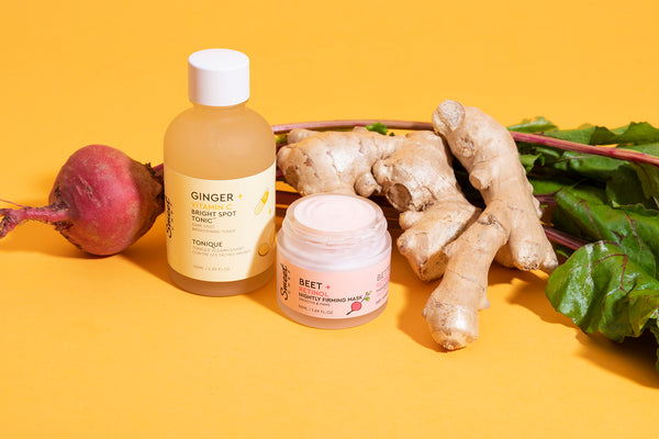 Meet the Ginger + Vitamin C Bright Spot Tonic and Beet + Retinol Nightly Firming Mask