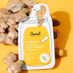 yellow and white sheet mask packaging shaped like a jar on ginger vegetable